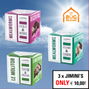 SALE! — 3 X JIMINI'S for €10,00! — Mealworms with 3 tastes: Garlic & Herbs +  Sesame & Cumin + Thyme & Oregano