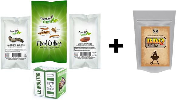 INSECT COMBO! — 4 insect products + Muurahaiskauppa BBQ-flavored crickets