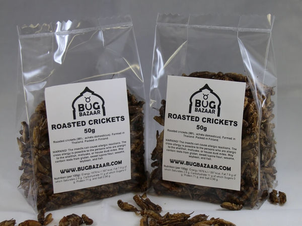 50 g Roasted edible crickets | Rostade Hussyrsor - Bug Bazaar